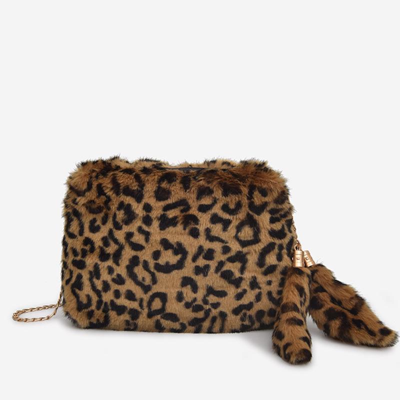 3b8ec3c2e7 LEFTSIDE Chain Crossbody Bags For Women 2018 Faux Fur Small Handbags  Fashion Vintage Leopard Hand Bags Winter Cluth Handbag Leather Bags For  Women Womens ...