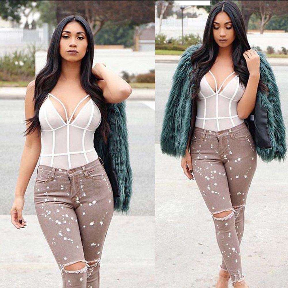 2018 The European And American Moda Buraco em calças de Brim Tight calças skinny estilo quente Skinny calças Plus Size 3XL
