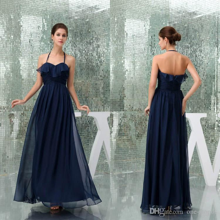 fe1abb779f 2018 A Line Chiffon Bridesmaid Dresses Navy Blue Real Image Elegant Evening  Party Gowns Maid Of Honor Dresses For Wedding WD5 038 Bridesmaid Dresses  For ...