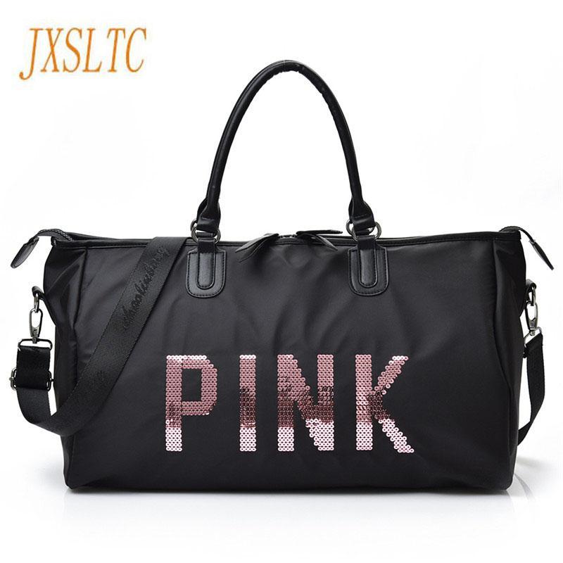 3be81f25bc1f JXSLTC 2017 Ladies Black Travel Bag Pink Sequins Shoulder Bag Women Handbag  Ladies Weekend Portable duffel Waterproof wash