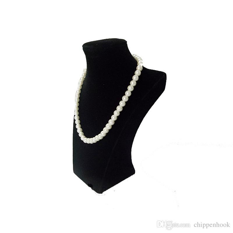 Wholesale of Black Velvet Jewelry Display Bust Wooden Necklace Pendant Organizer Storage Chain Exhibition Holder Stand 22 cm