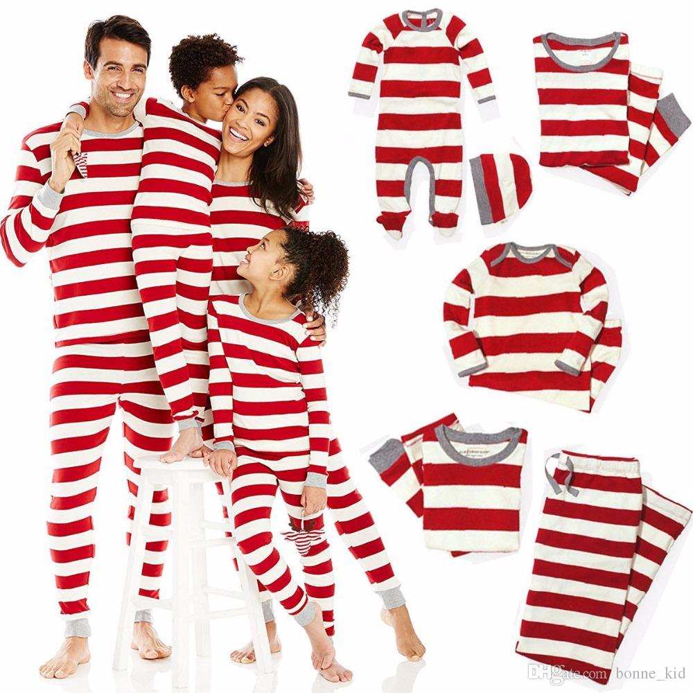 a4a55543d1 Christmas Matching Family Pajamas Red Striped Nightwear Baby Kid Adult Clothes  XMAS Striped Mama Papa Kids Clothing Romper Outfit Gift Matching Hawaiian  ...