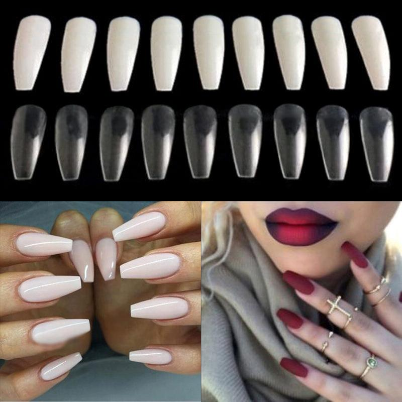 Trendy Long Ballerina Nails Coffin Shape Artificial French Fake Nail ...