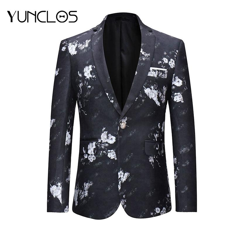 Yunclos Giacca One Button Acquista 2018 Primavera Suit Floral Uomo fIT8q8dBw