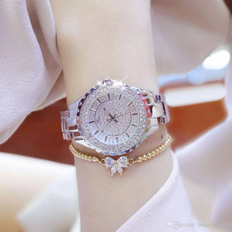 Compre BS Top Brand Mujer Relojes De Lujo Señoras Reloj De Acero Inoxidable  Mujer Rhinestone Relojes De Pulsera De Cristal Starlight Reloj De Regalo A  ... 674ea918ade9
