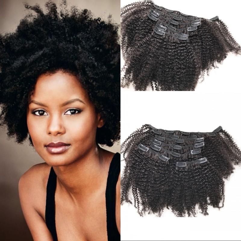 Afro Kinky Clip In Hair Extensions 120g Eurasian Human Hair Clip Ins