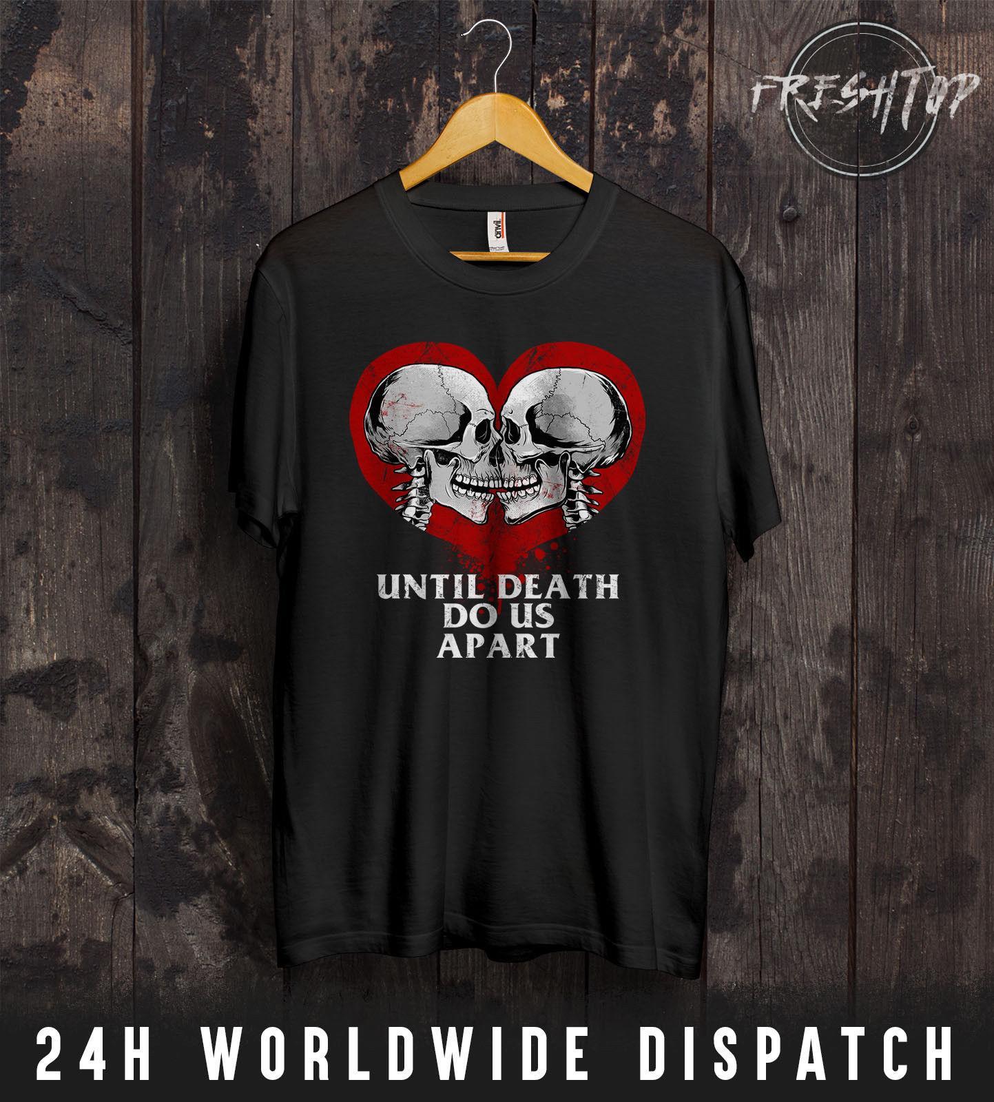 Compre Coração Esqueleto Camiseta Dia Dos Namorados Amantes Casal Crânio  Rock Presente De Metal Esposa De Bikeshirt 8433d5c1d4db2