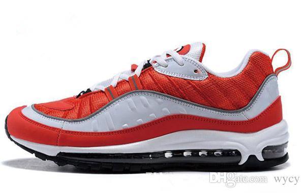 2018 وصول جديد مع صندوق الرجال الاحذية أحذية رياضية للأحذية رجالية الرياضة 98 OG جاندام أسود حجم US7-11 المشي لمسافات طويلة أحذية المشي