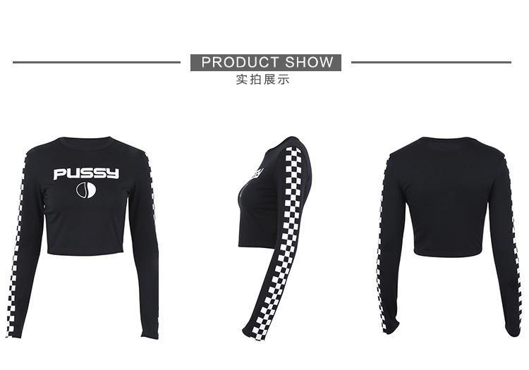 2018 Nova moda das Mulheres sexy túnica bodycon manga longa o-pescoço quadriculado carta impressão cintura alta colheita top tees up-umbigo tops curtos