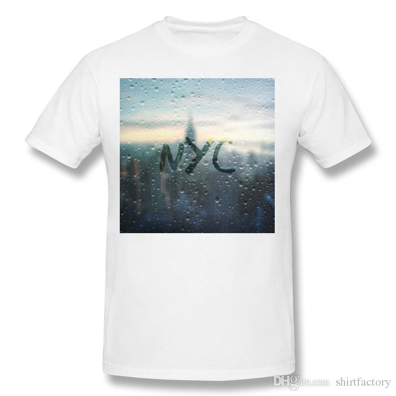 Transporte da gota Homens Tecido De Algodão Dia Chuvoso em NYC Camisetas Homens Em Torno Do Pescoço Roxo Camisas de Manga Curta S-6XL Lazer Camisetas