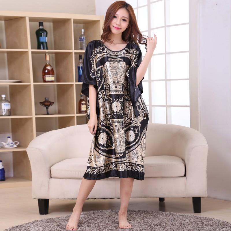 2019 Plus Size Women Summer Lounge Robes Ladies Fashion Home Dress Rayon  Nightgowns Large Loose Bating Sleeve Sleepwear Bathrobes From Piaose d62004417175