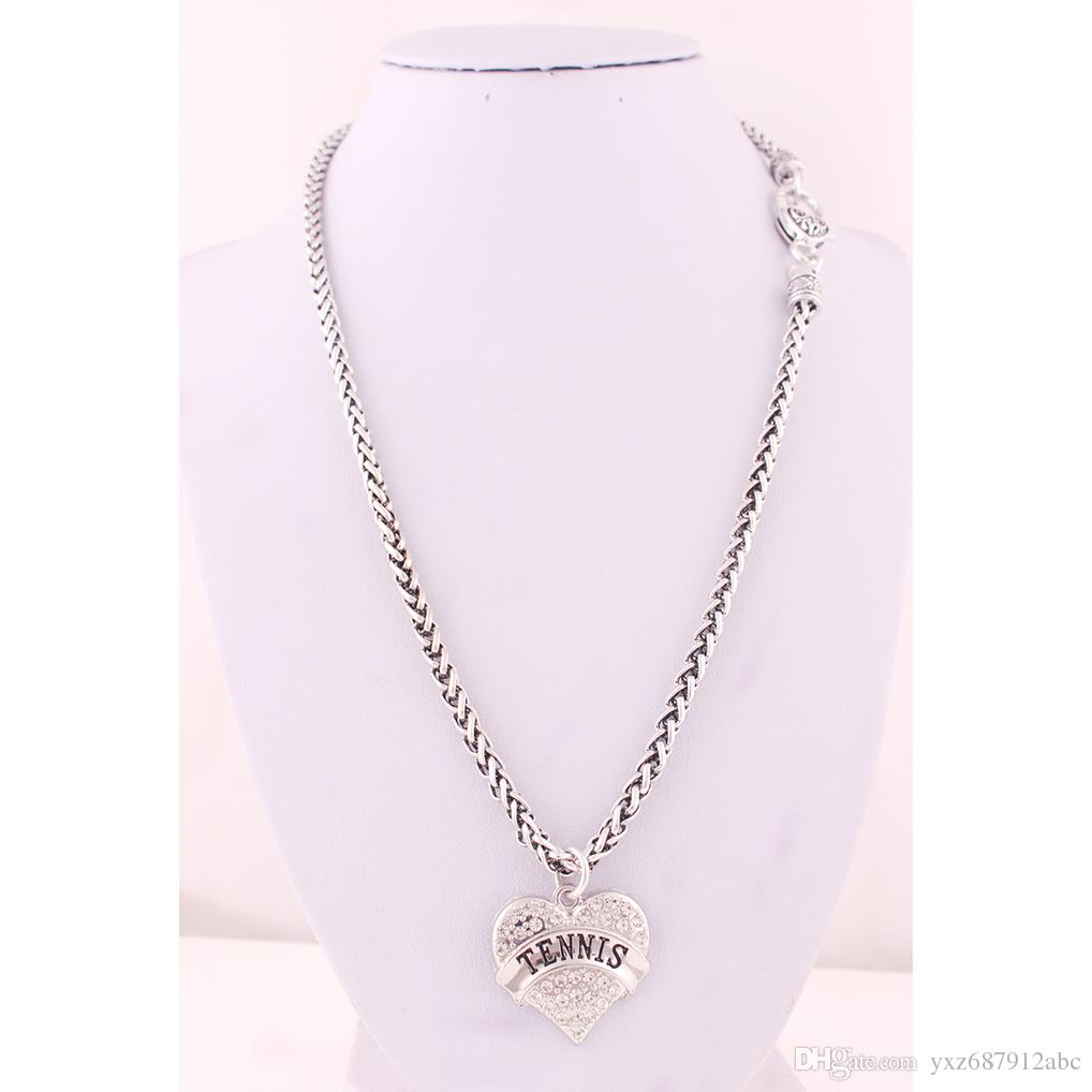 New Arrival Rhodium Plated Zinc Studded With Sparkling Crystals TENNIS Heart Pendant With Wheat Link Chain Lobster Clasp Necklace