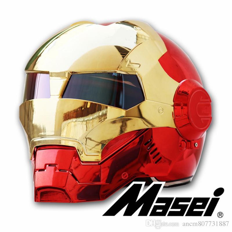 MASEI 610 plating Chrome electroplate Gold Red IRONMAN Iron Man helmet motorcycle helmet half open face helmet ABS motocross