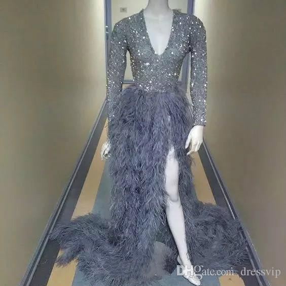2018 Luxury Feather Evening Dresses With Long Sleeves Sequined Beads Split Side Deep V Neck Formal Dress Sweep Train Africa Prom Gowns