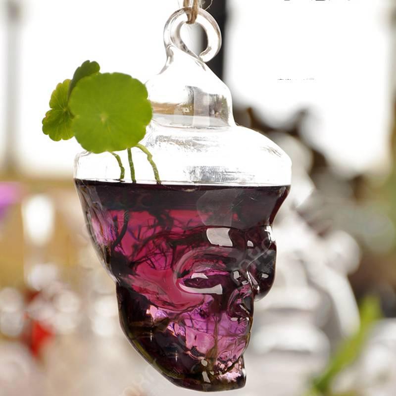 Skull Glass Vase Terrarium Vases Flower Pots Hanging Glass Halloween