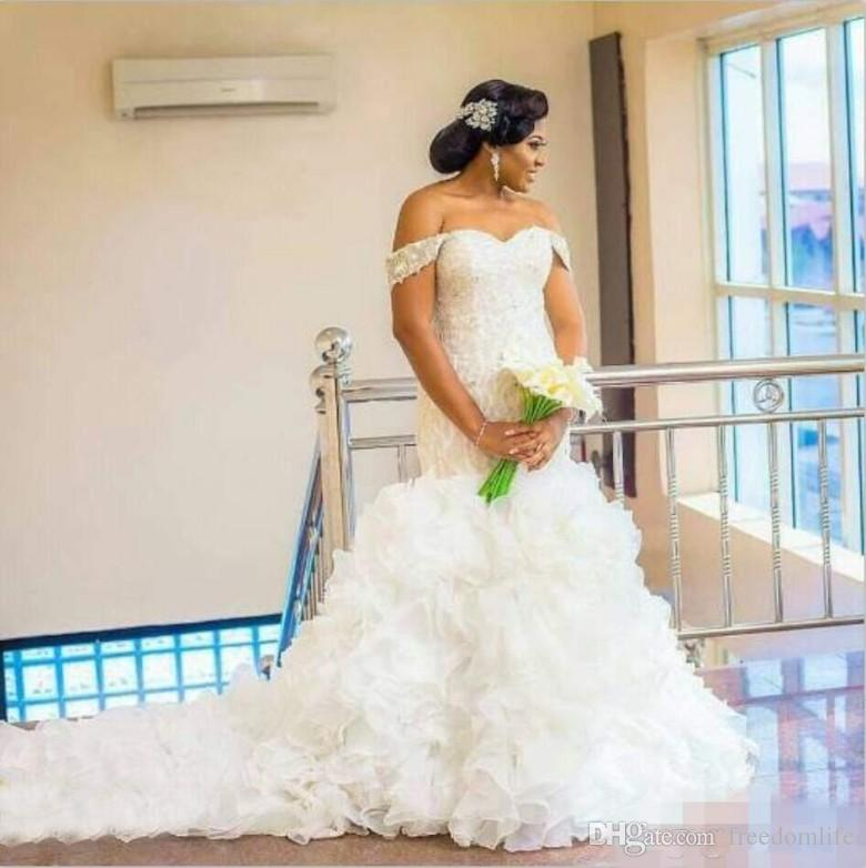 420a42b2483 Sexy Arabic Nigerian Wedding Dresses Off Shoulder Lace Beading Organza  Ruffles Chapel Train 2018 African Plus Size Mermaid Bridal Gowns Wedding  Dress Shops ...