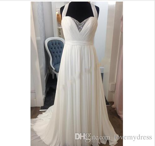Luxury Crystal Hollow Back Wedding Dresses Halter Chiffon Empire Beach Ruched Sweetheart Sweep Train Bridal Dress Gowns Cheap