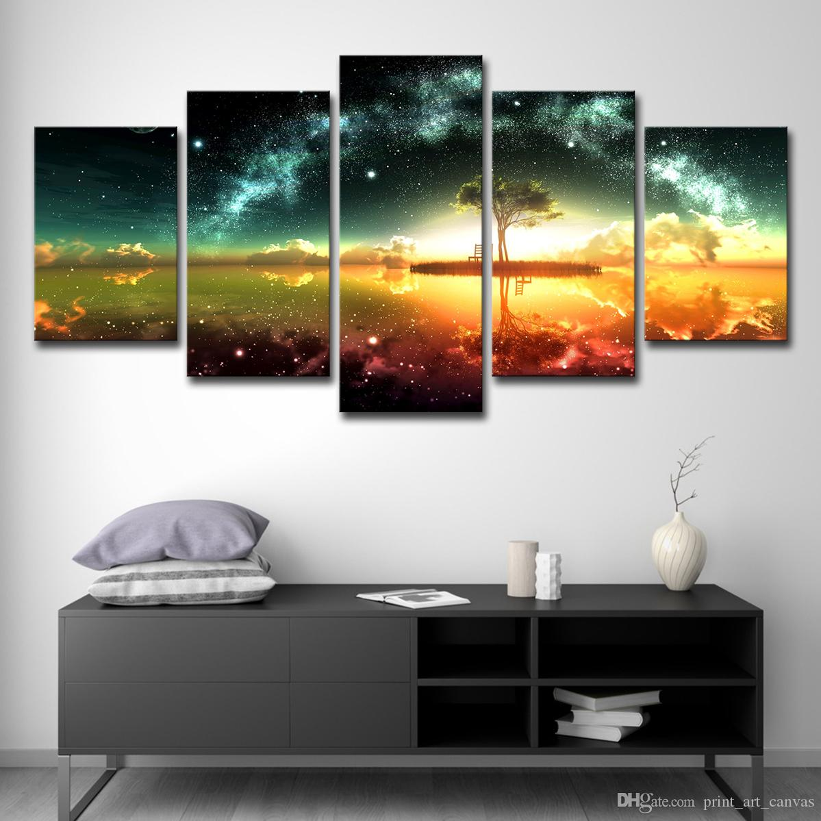 Home Decor Pictures Vintage Painting HD Print Poster 5 Panels Beautiful Scenery And Tree Canvas Wall Art Photo