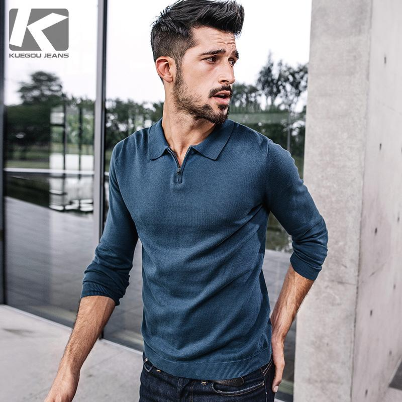 KUEGOU 2017 autumn men Fashion Brand Casual Sweater Slim Fit Knitting Mens Sweaters And Pullovers Men 17003