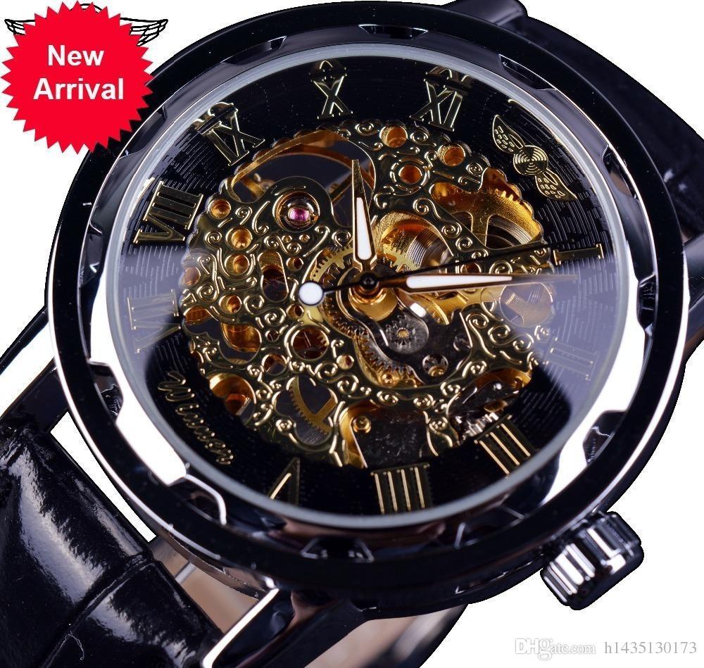6e52dc0c6ab Compre Vencedor Preto Dourado Esqueleto Relógios Homens De Luxo Da ...