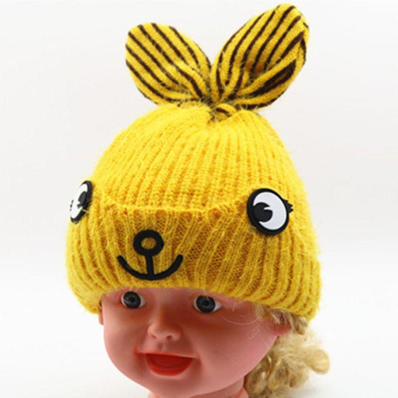 00e82537487 2019 Spring Children S Winter Knitted Baby Warm Crochet Beanie Kids Boy  Girls Bunny Ears Cartoon Plus Velvet Handmade Hat From Yangmeijune
