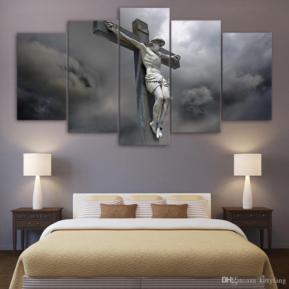 5 Stücke Leinwand Wandkunst Bilder Wohnkultur Rahmen Jesus Statue Kreuz Gemälde Für Wohnzimmer HD Drucke Abstrakte Poster