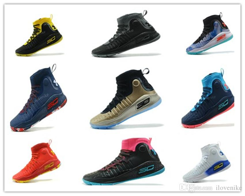 61b63aca300e8 Hot Stephen Curry 4 UA More Dimes White Blue Red Gold Championship MVP  Finals Mens Basketball Shoes Sports Sneakers Shoes On Sale Cheap Sneakers  From ...