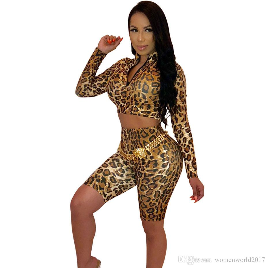429f1ecbf457 2019 Sexy Leopard Set Women Tops+Bodycon Biker Shorts Suits Autumn Outfits  Casual Tracksuit Two Piece Matching Sets From Womenworld2017
