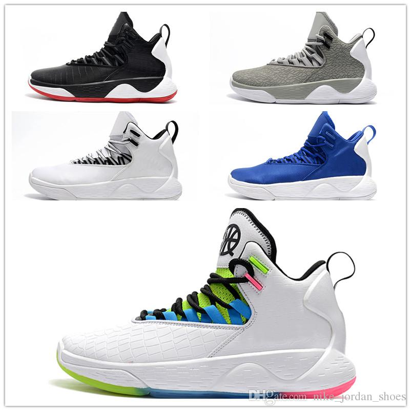3f551c11f2e8 2019 Super Fly Mvp Jumpman Men Basketball Shoes Quai 54 White Neon Accents  black Blue Grey Sneakers Mens Designer Trainer For Sale From  Nike jordan shoes