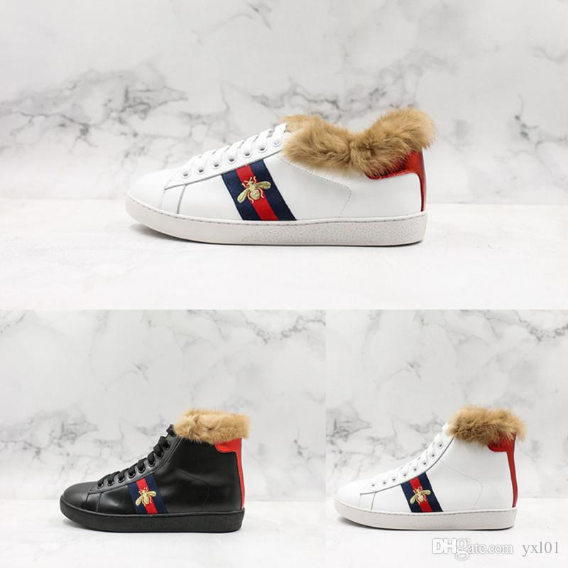 45b693680c6 New Luxury Shoes Top Leather Add Fur Bee White Sneaker Fashion ...