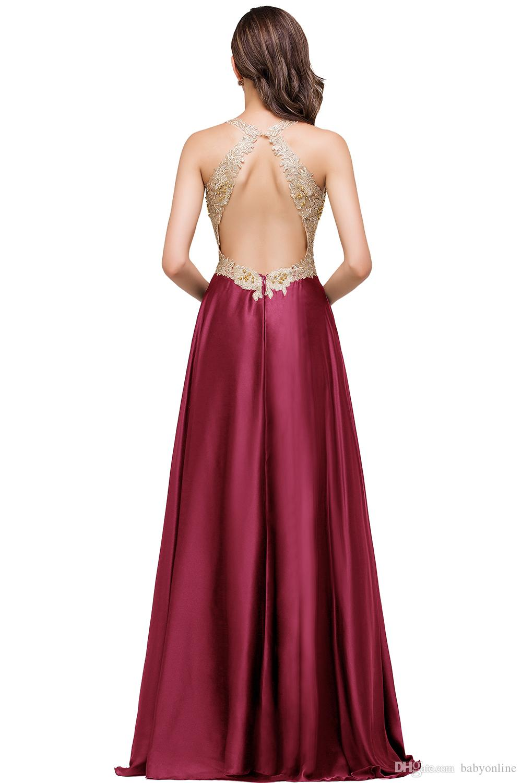 Vestido de Festa Sexy Backless Lace Beaded Long Evening Dress A Line V Neck Satin Prom Gowns Robe De Soiree CPS358