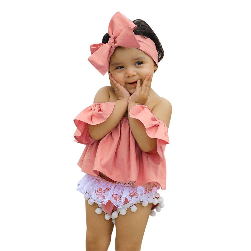 89e9b2e0e0b5 2018 Infant Baby Girl Set Off Shoulder T Shirt Tops Lace Shorts Pants  Outfit Baby Clothes Set Girl Drop Shipping From Heathera