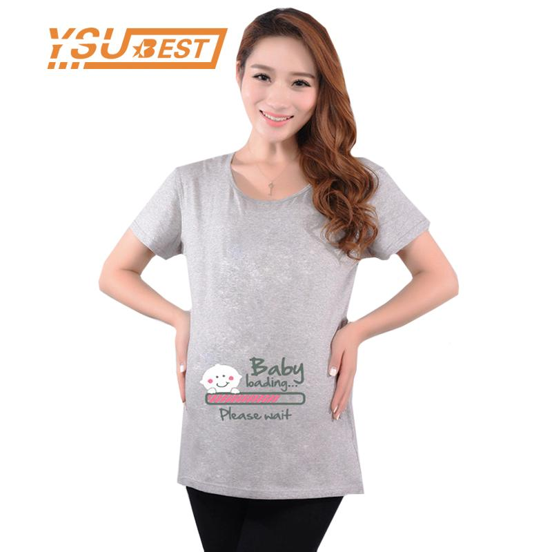 6ad0d741 2019 2018 Funny Maternity Shirts Cute Pregnancy Tops Short Sleeve Maternity  Clothes For Pregnant Women Soft Cotton T Shirts From Gaozang, $25.55 |  DHgate.
