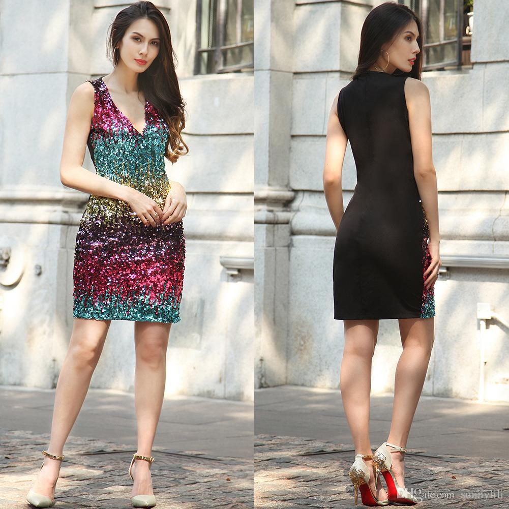Casual Dresses For Women With Sleeve Women's Clothes In Spring And Summer Purple Red Blue Sexy Deep V Dress Metal Sequin Sress
