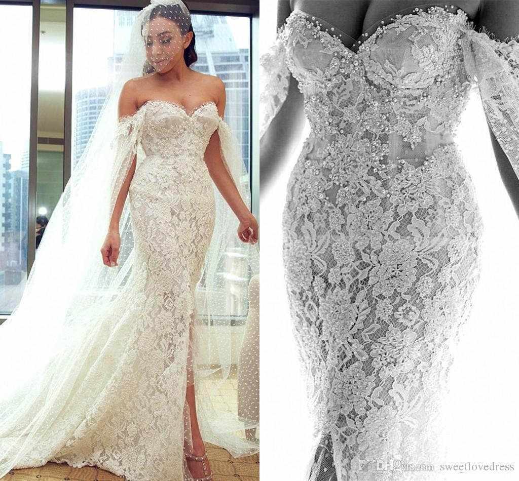db89dffde7f 2018 Sexy Pearls Beaded Off Shoulder Wedding Dress With Wrap Lace Applique  Garden Side Split Country Bridal Gown Bride Dress Custom Princess Wedding  Gowns ...