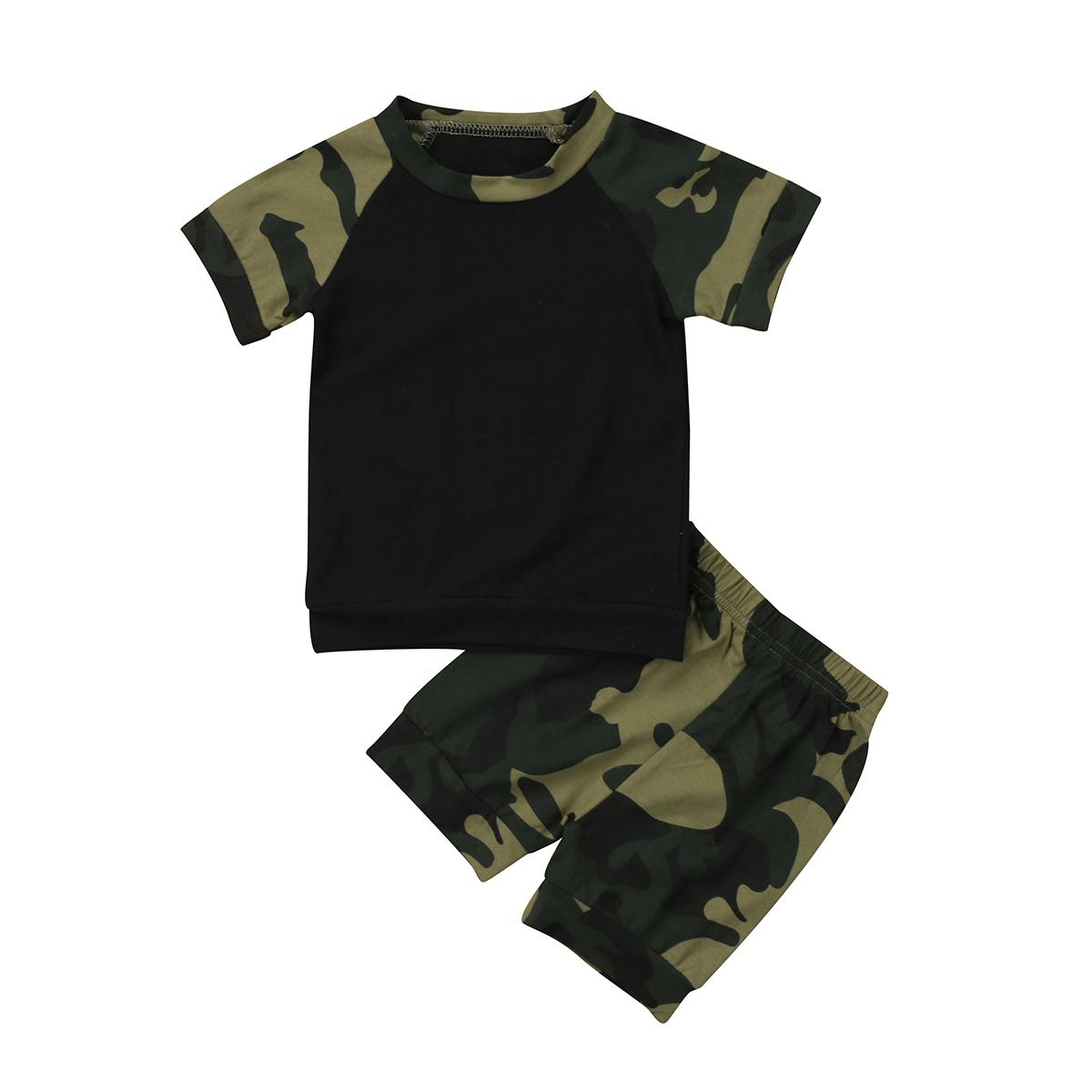 a3f2a2e6c719 2019 Baby Boys Girls Camo Clothing Set Newborn Kids Short Sleeve Camo Top T  Shirt + Pants Outfit Set Clothes From Sightly