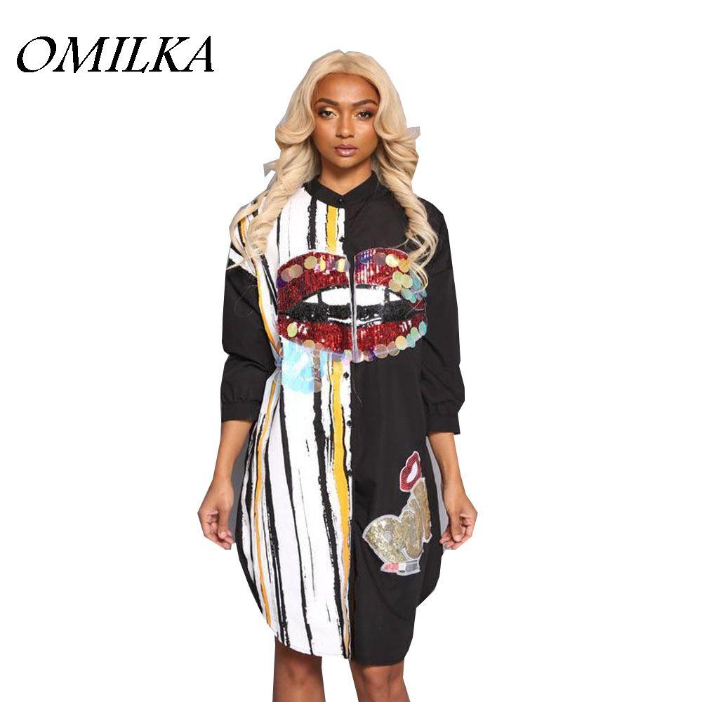 83e01ea8a72 OMILKA 2017 Autumn Winter Women Long Sleeve Cartoon Sequin Shirt Dress  Casual Harajuku Hip Hop Shiny Club Party Midi Dress Womens Long T Shirt  Dress Casual ...