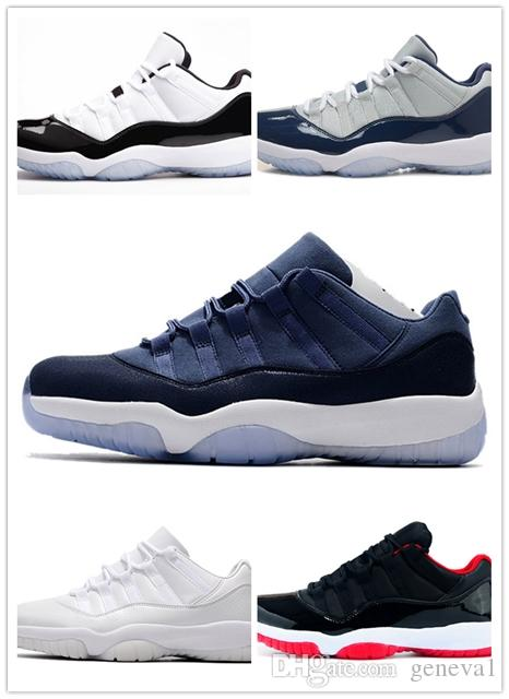 c71e17d23a1a New Style Good Men 11s Navy Blue White Basketball Shoes Factory Outlet  Series 11 XI Low UNC Sports Outdoor Sneakers Size 36 47 Basketball Shoes  For Men Kids ...