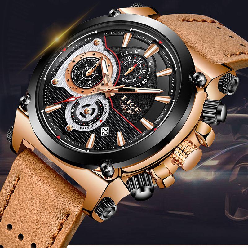 d4ca0e2f8b8 Compre Relogio Masculino Dos Homens Novos Relógios Marca Ligo Luxo Relógio  De Quartzo Dos Homens De Couro Casual À Prova D  água Esporte Relógio De  Pulso De ...