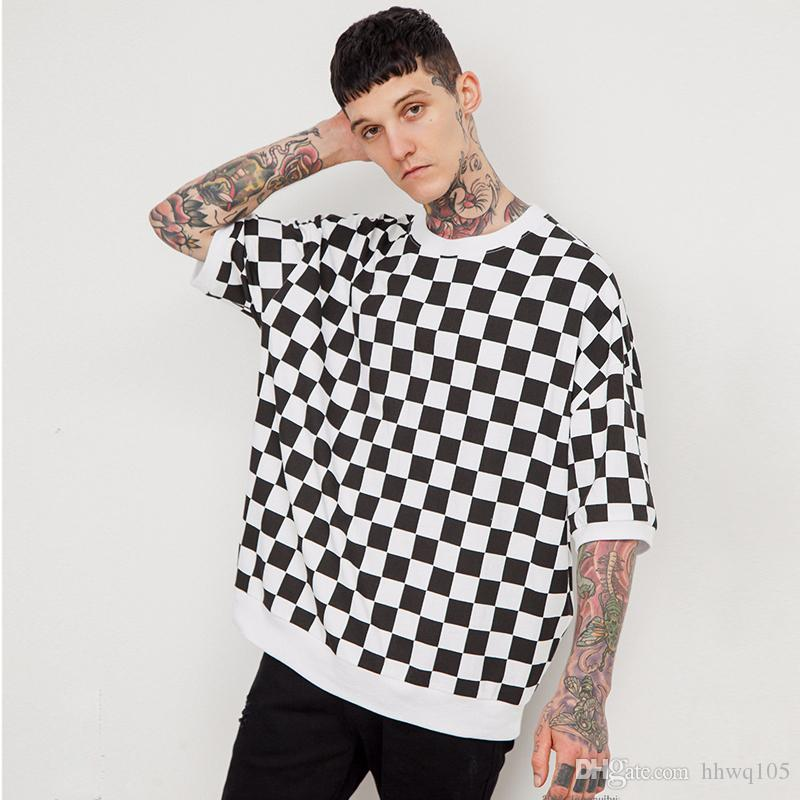 b71e82edb28 Black And White Checkered T Shirt Men Women Summer Style Oversized  Skateboards Tops Tees Kanye West Streetwear Plus Size Clothes JZH0217 But T  Shirts T ...
