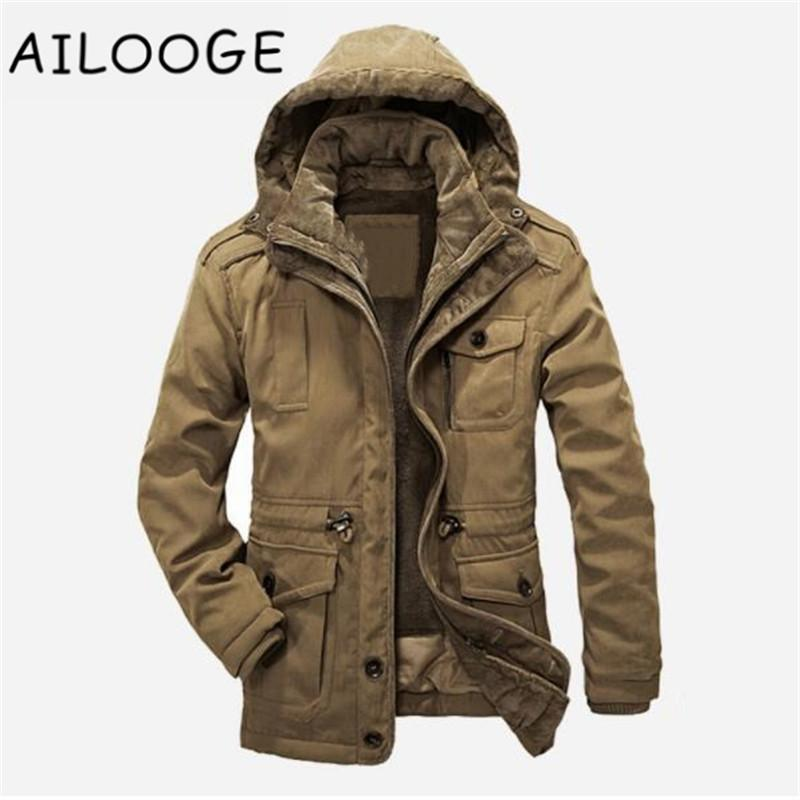 Famous Brand Winter Jacket Men 2017 Warm Thick Hooded Cotton-Padded Jacket Business Fashion Windproof Cotton Parkas