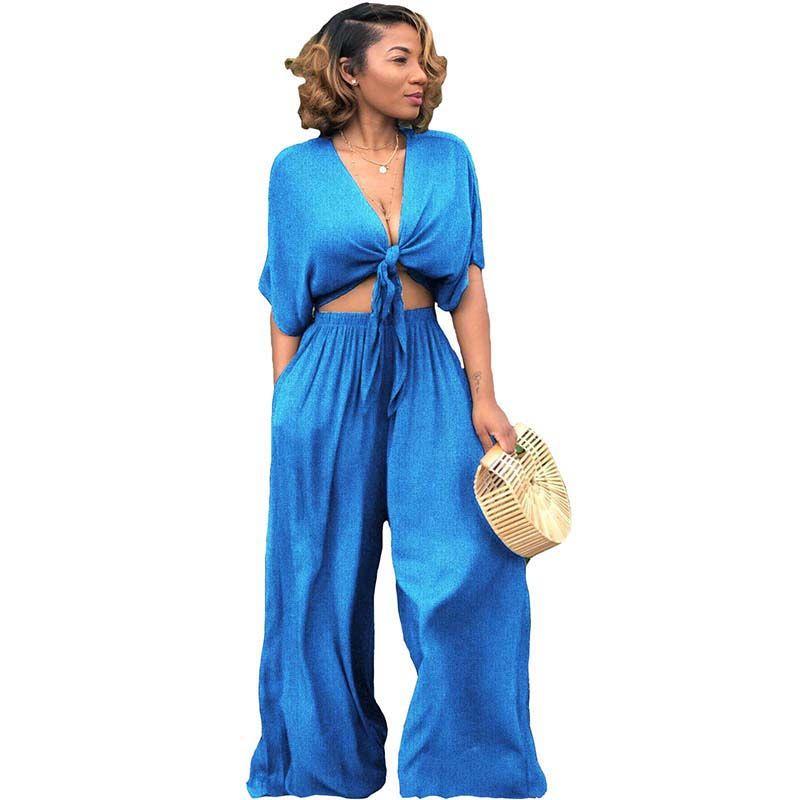 premium selection 6e0b1 b945f Nuovo 2018 Set due pezzi Vestiti Donna Estate Sexy Crop Top con pantaloni  larghi Abiti Donna estate 2 pezzi Set Conjunto Feminino