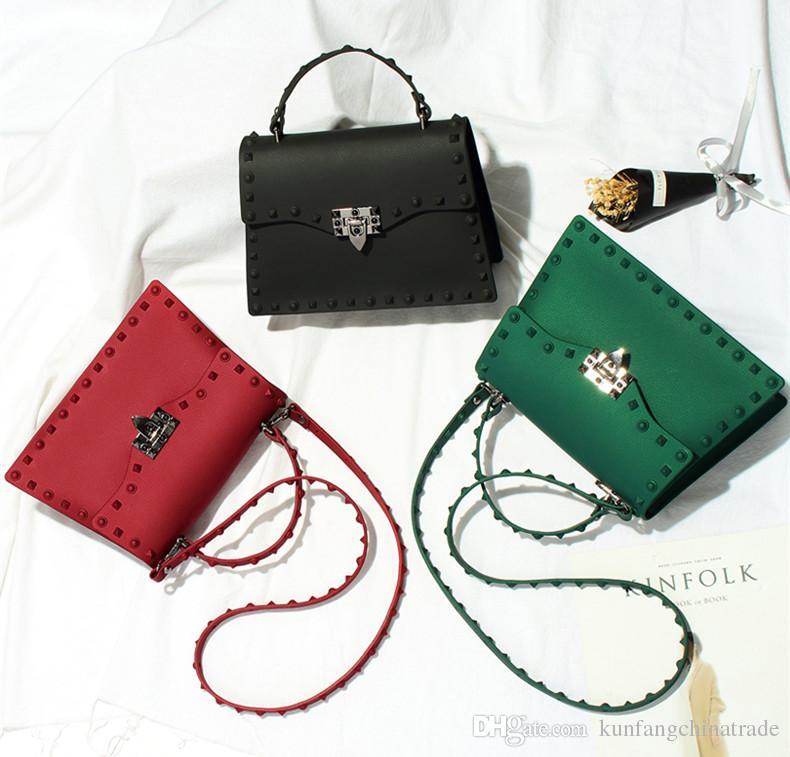 2018 di marca di modo del progettista delle donne del messaggero borse di lusso borse gelatina Bag Donna Borse PVC Rivet spalla borsa Bag Lady