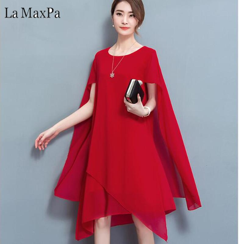 8c05bd200ae1b 2019 2018 New Summer Chiffon Asymmetric Plus Size Cape Women Dress Vestidos  Short Sleeves Knee Length Dresses Big Size Party Dress From Missher, ...