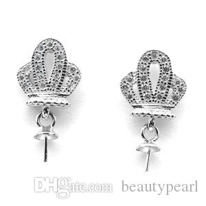 Little Crown Stud Earring Pearl Mounts 925 Sterling Silver Findings for DIY Jewelry Making