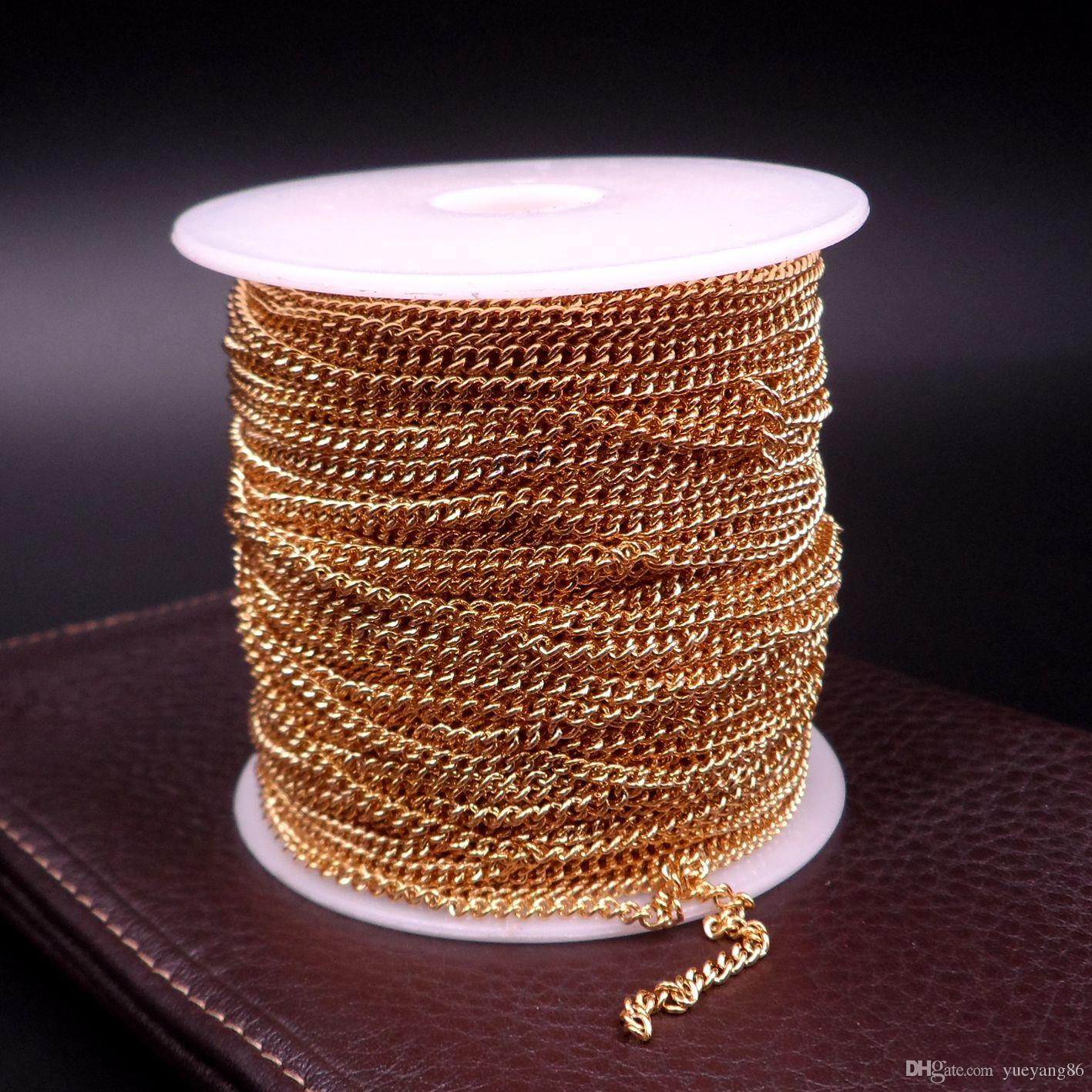 GNAYY 10 metri lotto in massa risultati dei monili oro cowboy catena a maglia in acciaio inox fai da te jewlery catena di marcatura 1.6mm / 2.2mm donne larghe
