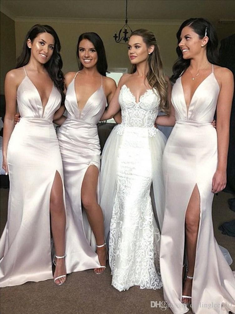 ccd42ce31ef White Mermaid Bridesmaid Dresses Strapless Spaghetti Criss Cross Back  Sleeveless Sweep Train Stain Side Slit Pageant Dress For Wedding Guest Burnt  Orange ...