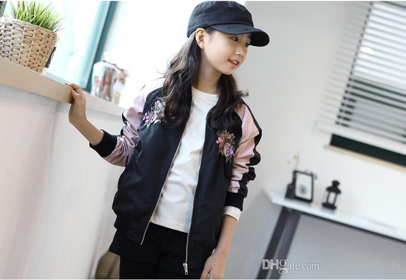 a6d1b2108 6 To 14 Years Girls Fall Embroidered Coats, Children Spring/Autumn Zipper  Clothes, Kids & Teenager Fashion Clothing, 2AH706CT 38 Boys Waterproof Jacket  Kid ...