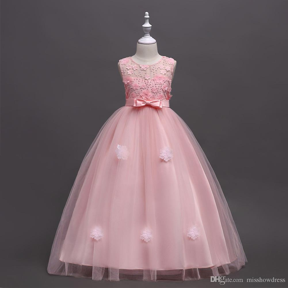 2018 милый розовый шар платья цветок девочек платья прозрачные жевательные шеи красные ручной работы цветы без рукавов лук sash дешевые девушки конкурс платья mc1497