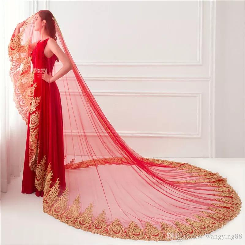Muslim Wedding Veil Long Lace Gold Edge 350cm Length Red White Ivory Cathedral Veils In STock 2018